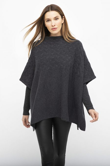 Cable Funnel Poncho - Kinross Cashmere