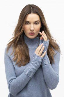 Plaited Cable Fingerless Gloves - Kinross Cashmere