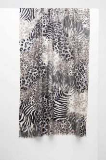 Mixed Animal Print Scarf - Cafe - Kinross Cashmere