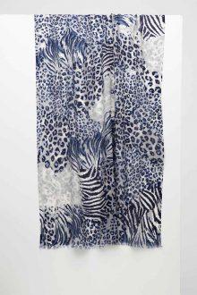 Mixed Animal Print Scarf - Navy - Kinross Cashmere