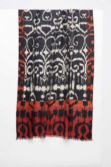 Framed Ikat Print Scarf - Black - Kinross Cashmere