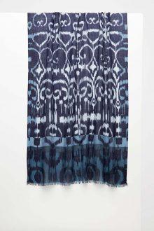 Framed Ikat Print Scarf - Navy - Kinross Cashmere