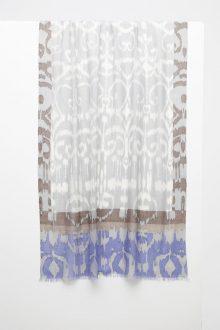 Framed Ikat Print Scarf - Sterling - Kinross Cashmere