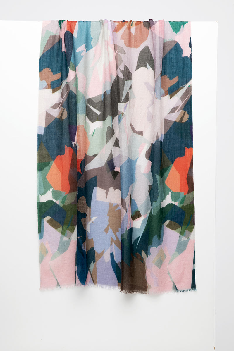 Stained Glass Floral Print Scarf - Verde - Kinross Cashmere