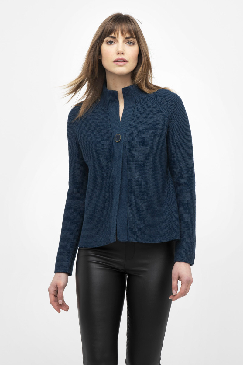 Garter Stitch Button Cardigan - Kinross Cashmere