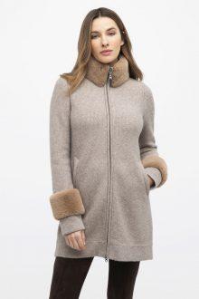 Faux Fur Trim Textured Cardigan - Kinross Cashmere