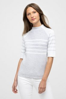 Elbow Slv Stripe Funnel - Kinross Cashmere