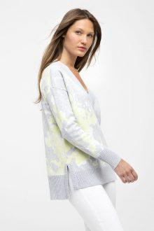 Floral Hi-Low Vee - Kinross Cashmere