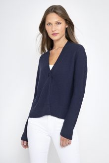 One Button Textured Cardigan - Kinross Cashmere