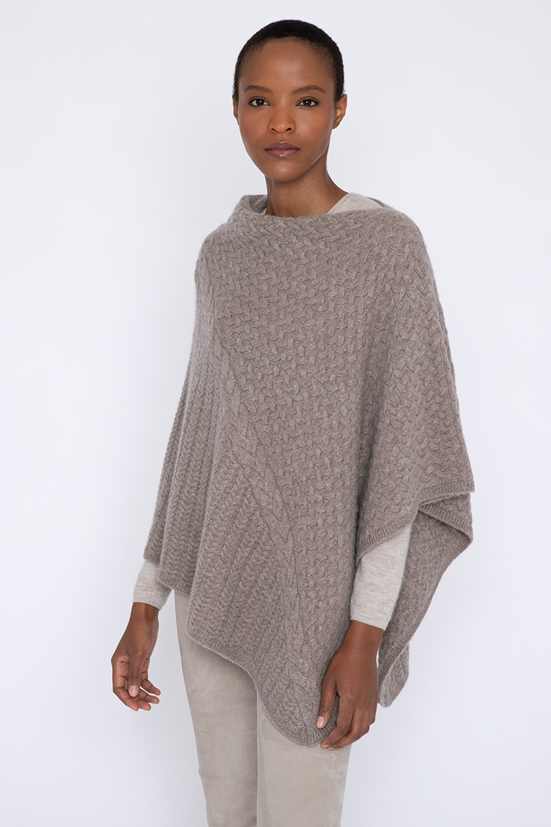 Cable Poncho - Kinross Cashmere