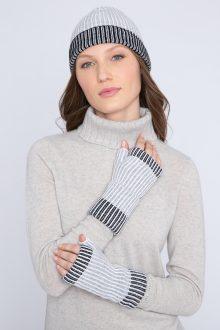 Plaited Colorblock Hat & Gloves - Kinross Cashmere