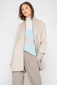 Rib Sleeve Zip Mock Coat - Kinross Cashmere