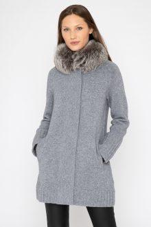 Fur Collar Swing Cardigan - Kinross Cashmere