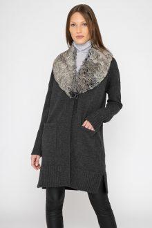 Faux Fur Shawl Collar Cardigan - Kinross Cashmere