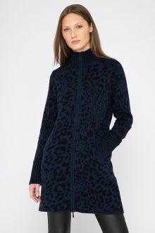 Leopard Zip Mock Cardigan - Kinross Cashmere