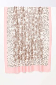 Leopard Dot Print Scarf - Biscotti - Kinross Cashmere