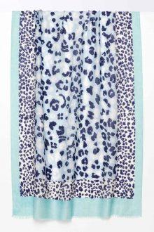 Leopard Dot Print Scarf - Reef - Kinross Cashmere