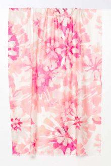Watercolor Floral Print Scarf - Flamingo - Kinross Cashmere