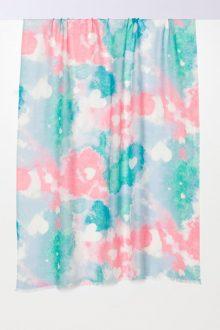 Heart Print Scarf - Flamingo - Kinross Cashmere