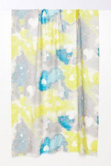 Heart Print Scarf - Neon - Kinross Cashmere