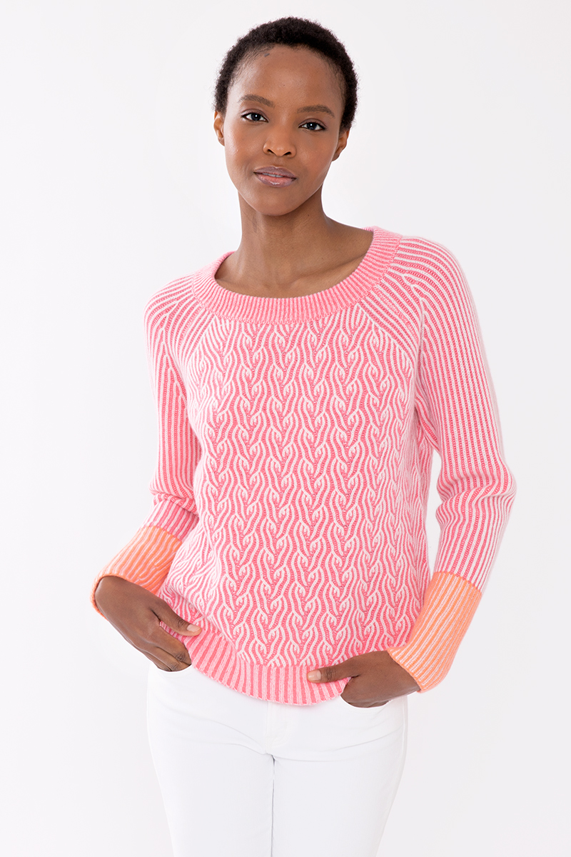 Plaited Color Play Pullover - Kinross Cashmere