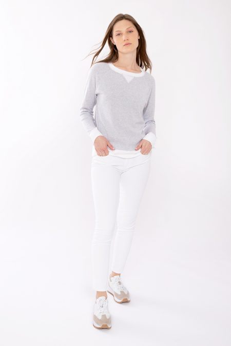 Contrast Trim Sweatshirt - Kinross Cashmere
