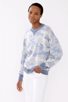 Gathered Sleeve Camo Sweatshirt - Kinross Cashmere