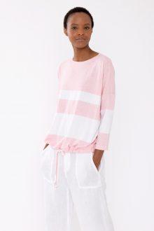 Stripe Drawstring Pullover - Kinross Cashmere