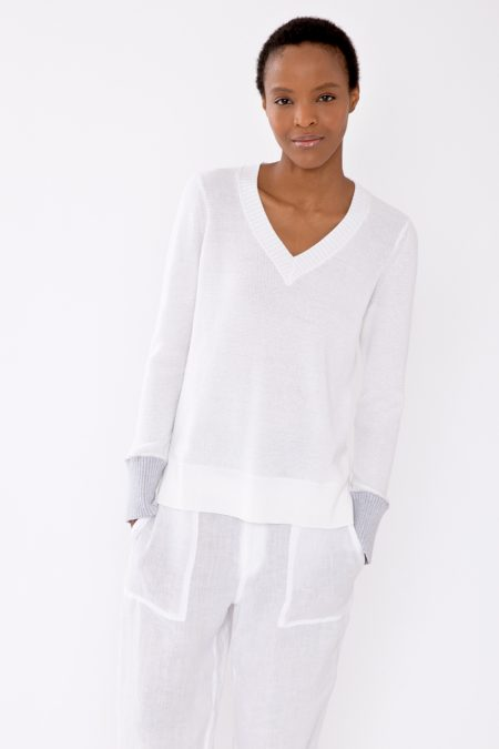 Contrast Cuff Thermal Vee - Kinross Cashmere