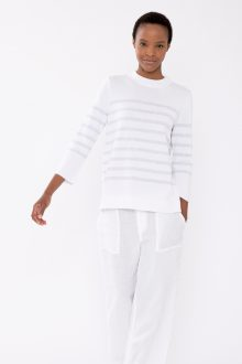 Relaxed Stripe Crew - Kinross Cashmere