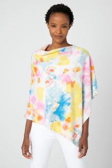 Painted Floral Poncho - Kinross Cashmere