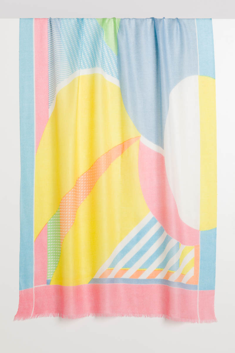 Athens Abstract Print Scarf - Kinross Cashmere