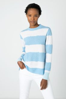 Intarsia Stripe Pullover - Kinross Cashmere