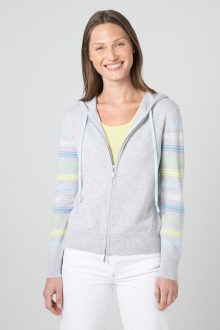 Stripe Sleeve Zip Hoodie - Kinross Cashmere