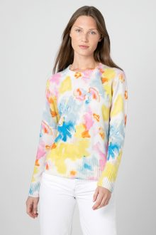 Painted Floral Crew - Kinross Cashmere