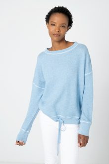 Coverstitch Drawstring Pullover - Kinross Cashmere