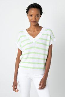 Stripe Cap Sleeve Vee - Kinross Cashmere