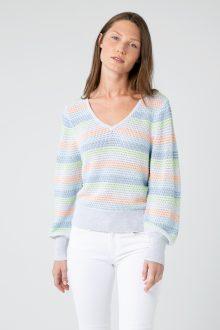 Gathered Sleeve Stripe Vee - Kinross Cashmere