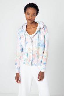 Sunbleached Floral Zip Hoodie - KInross Cashmere