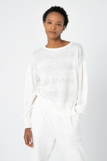 Gathered Sleeve Texture Pullover - Kinross Cashmere
