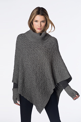 Kinross Cashmere | Textured Cable Poncho
