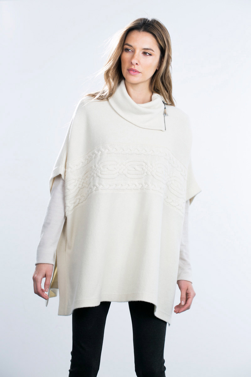 Kinross Cashmere | Zip Neck Cable Poncho