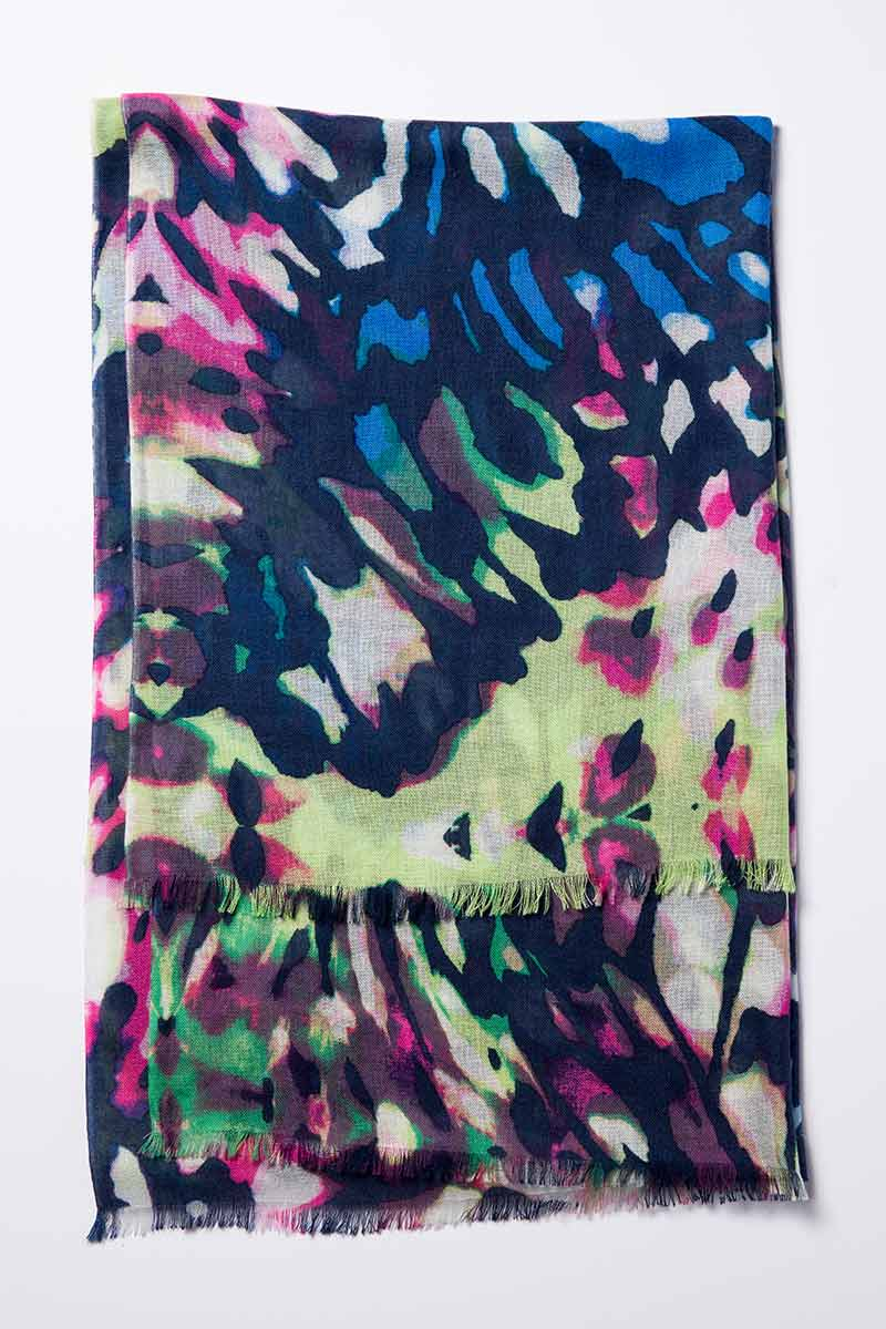 Kinross Cashmere   Resort 2015   Mariposa Print Scarf
