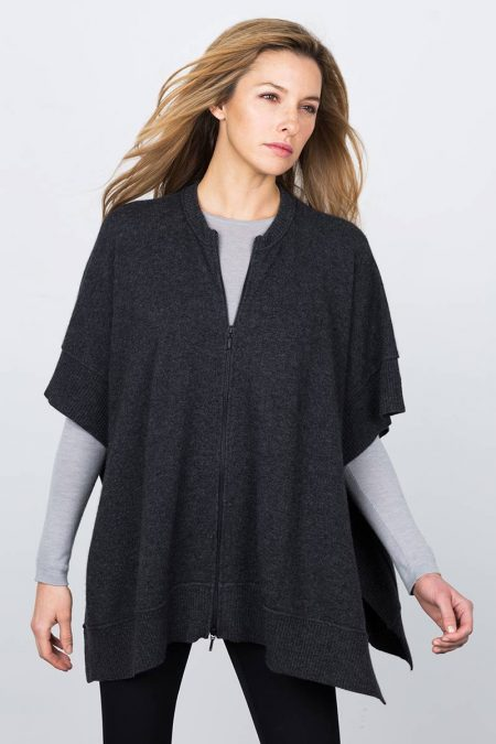 Zip Front Poncho Kinross Cashmere