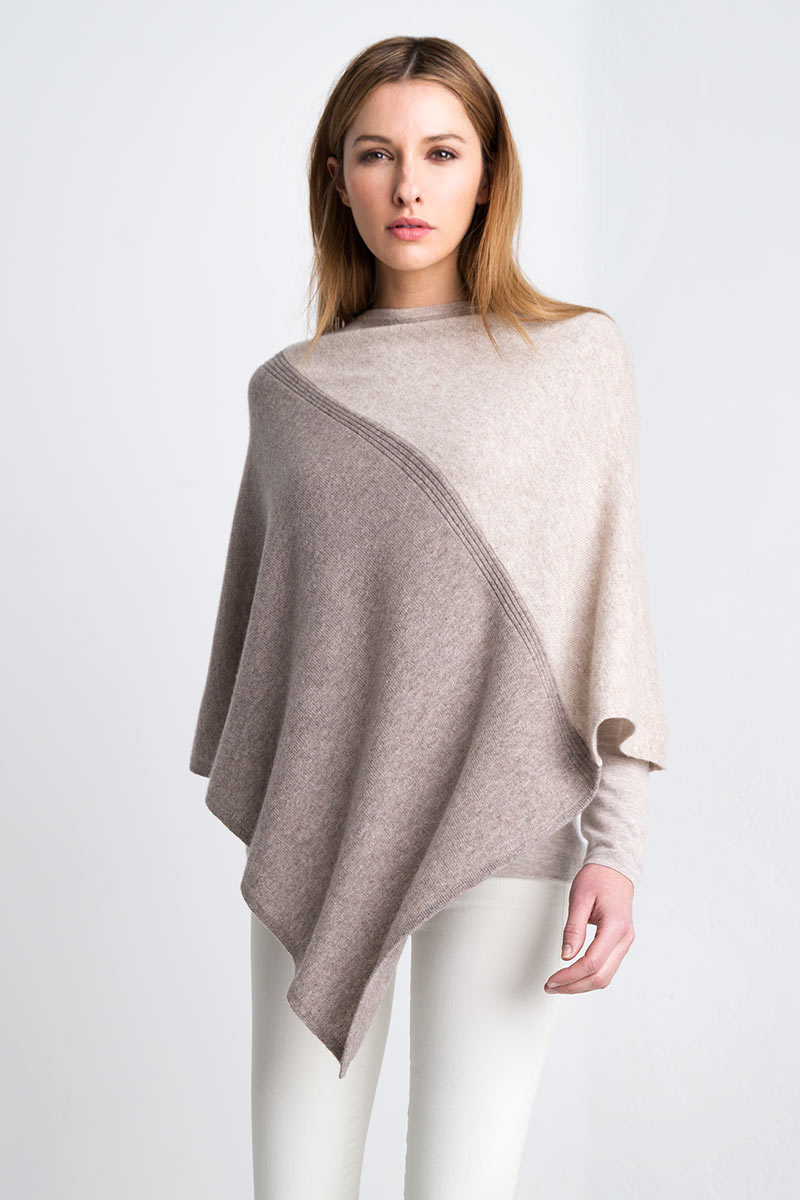 Colorblock Poncho - Antler / Fawn Kinross Cashmere 100% Cashmere