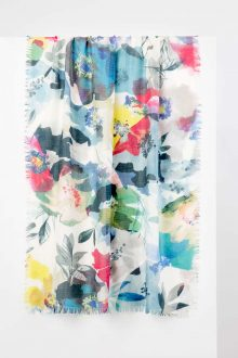 Colorblock Spray Print Scarf - Shadow Multi Kinross Cashmere 100% Cashmere