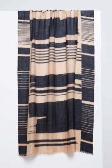 Linear Brushwork Print Scarf - Honey - Kinross Cashmere