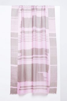 Linear Brushwork Print Scarf - Quartz - Kinross Cashmere