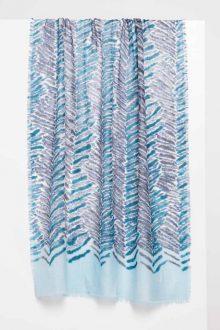 Tiger Stripe Print Scarf - Balsam - Kinross Cashmere