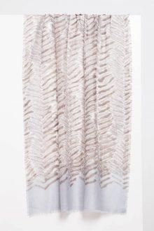Tiger Stripe Print Scarf - Pewter - Kinross Cashmere